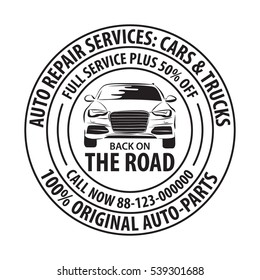Auto Repair Services Badge template. Car service label, emblem vector illustration.