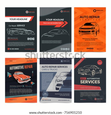 Auto Repair Services Business Layout Templates Stock Vector Royalty