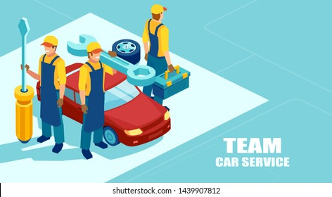 Auto repair shop concept. Isometric vector of a mechanic team, group of technicians with a screwdriver and tools ready to fix a car offer a professional service
