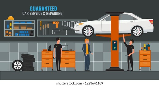 Auto repair shop interior with mechanics or masters working and fixing cars, professional service. Car on the lift. Vector illustration.