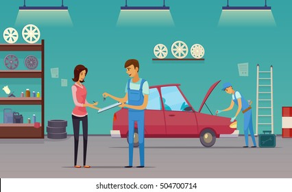 Auto repair shop service workers fixing car and billing customer retro cartoon indoor composition poster vector illustration