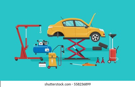 Auto Repair Shop. Vector illustration