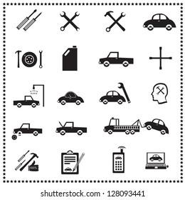 Auto Repairs Icons set, Vector illustration