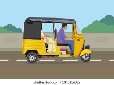 Auto rickshaw with cityscape