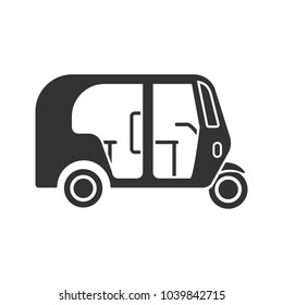 Auto rickshaw glyph icon. Tuk tuk. Silhouette symbol. Negative space. Vector isolated illustration