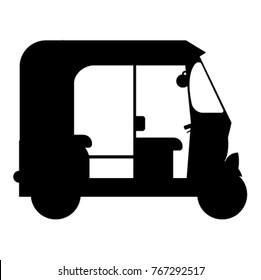 Auto Rickshaw Icon Isolated on White. Tuk Tuk Illustration