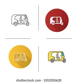 Auto rickshaw icon. Tuk tuk. Flat design, linear and color styles. Isolated vector illustrations