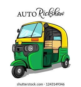 Auto Rickshaw india vector illustration