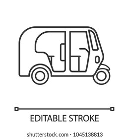Auto rickshaw linear icon. Thin line illustration. Tuk tuk. Contour symbol. Vector isolated outline drawing. Editable stroke