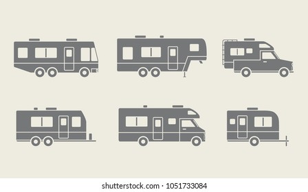 Auto RVs, Camper cars / vans, Truck Trailers, recreational vehicles vector icons
