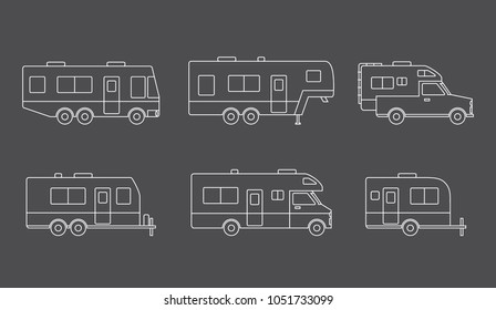 Auto RVs, Camper cars / vans, Truck Trailers, recreational vehicles vector linear icons, isolated on dark background