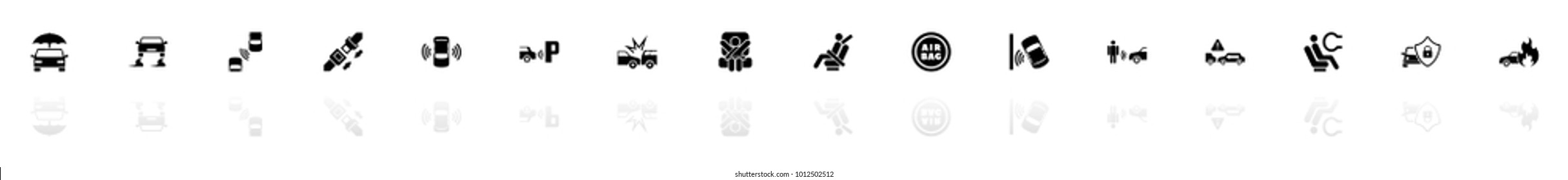 Auto Safety icons - Black horizontal Illustration symbol on White Background with a mirror Shadow reflection. Flat Vector Icon.