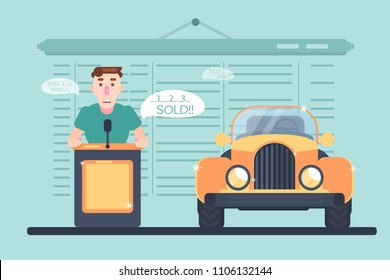 Auto sale auction with character. Sale of a restored old car at auction. Sold vehicle. Vector illustration with character.