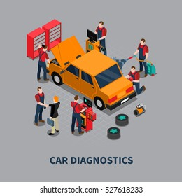 Auto service car diagnostics and repair center mechanics testing vehicle isometric composition gray background poster vector illustration