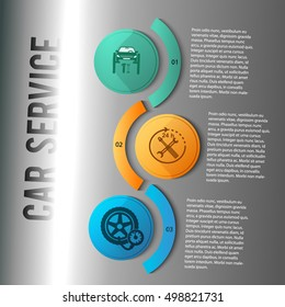 Auto service and car repair background with icons design elements on vertical rectangular banner. Modern business presentation template for car newsletter. Vector illustration eps 10