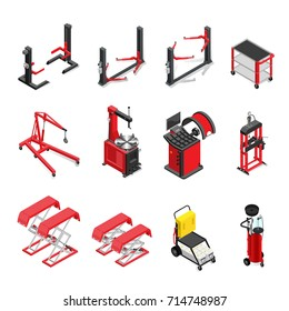 auto service equipment set, lifts and mechanisms for work in a body shop. isometric style