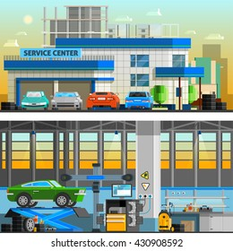 Auto service flat horizontal banners with parking near service center building and  workshop indoor interior with equipment for diagnostics and repair automobiles vector illustration