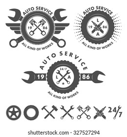 Auto service labels emblems and logo elements