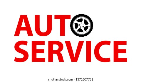 Auto Service Logo emblem isolated on white color. Vector illustration for Car repair mechanic station in EPS10.