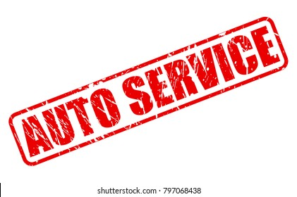 AUTO SERVICE red stamp text on white