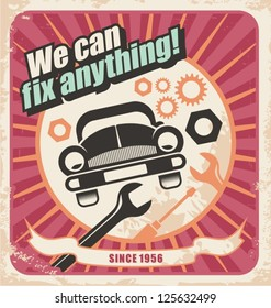 Auto service retro poster. Vintage background for car repair.