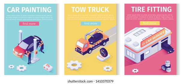 Auto Service Set for Online Mobile Application. Text Templates Perform Car Painting, Tow Truck Assistance and Tire Fitting Maintenance. Isometric Garage, Vehicle, Masters. 3d Vector Illustration