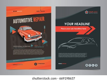 Auto Services Business Flyer layout templates, automotive repair magazine cover, car repair shop brochure, mockup flyer. Vector illustration.