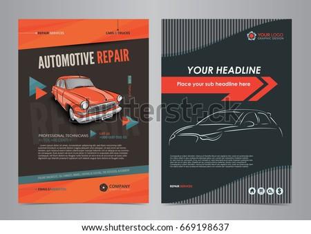 auto services business flyer layout templates のベクター画像素材