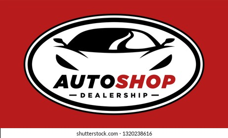 Auto shop sports car dealership logo with silhouette icon of a conceptual shape performance motor vehicle badge template on red background. Vector illustration.