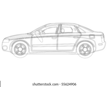 auto sketch vector against white background, abstract art illustration - Original design