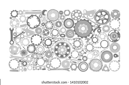 Auto spare parts and gears, background for your design