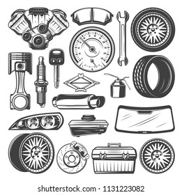 Auto spare parts and instruments sketch for car mechanics. Vector set of motor engine, motor oil or wrench and windshield, light alloy wheels and tires, exhaust pipe and rear view mirror or brakes
