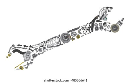 Auto spare parts items in wrench. New original equipment spare parts make wrench. Many auto spare parts wrench. OEM spare parts in wrench. Auto parts like wrench for aftermarket.