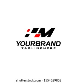 Auto speed letter M with race element logo template vector
