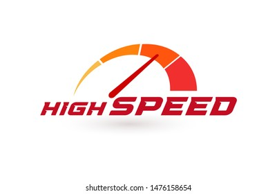 Auto speedometer or business speedometer icon template. Isolated vector illustration.