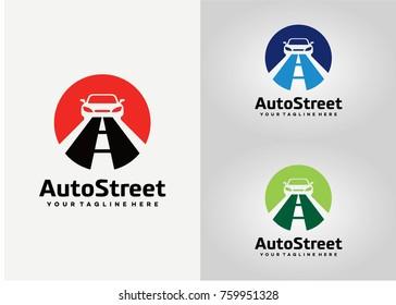 Auto Street Logo Template Design. Creative Vector Emblem for Icon or Design Concept