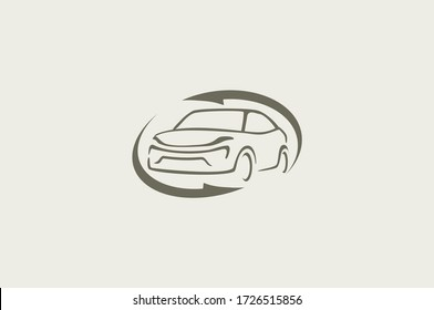 Auto style car logo design with concept sports vehicle icon silhouette  on retro background. Vector illustration.