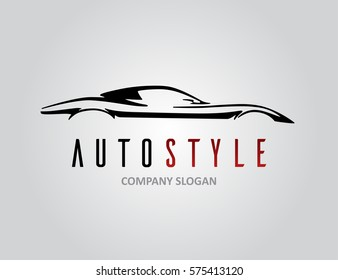 Auto style car logo design with concept retro sports vehicle icon silhouette on light grey background. Vector illustration.