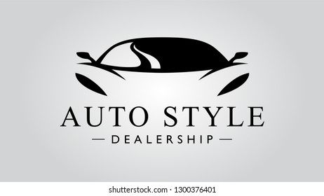 Auto style dealership super car logo design with concept sports vehicle icon silhouette on light gray background. Vector illustration