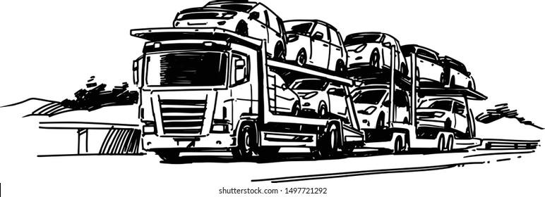 Auto Transport Carrier. Vector illustration