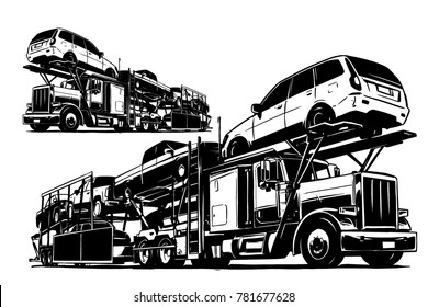 Auto Transport Carrier. Vector illustration