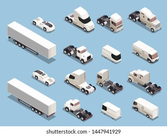 Auto transport freight commercial vehicles isometric icons set with trucks trailers lorries vans sport cars vector illustration