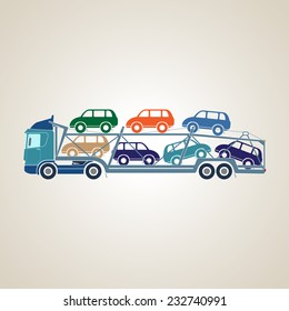 Auto transporter cars. Delivery of passenger cars. Car Transport Services. Vector illustration