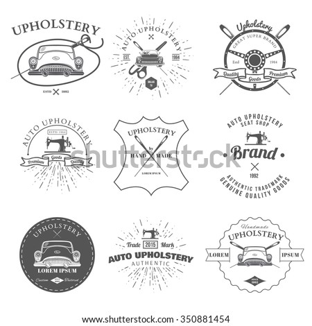 Auto Upholstery Vintage Badges Labels Vector Stock Vector Royalty