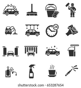 Auto wash. Monochrome icons set. Car wash, simple symbols collection. Automatic carwash, isolated vector illustrations