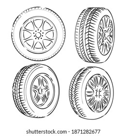 Auto wheels line icons. Vector thin line illustration of different wheels. wheel vector sketch illustration