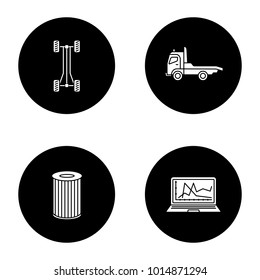 Auto workshop glyph icons set. Car chassis frame, tow truck, air filter, computer diagnostics. Vector white silhouettes illustrations in black circles