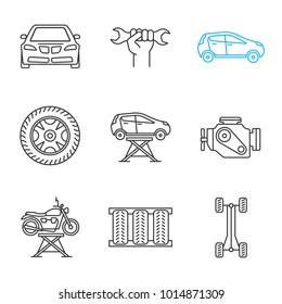 Auto workshop linear icons set. Spanner in hand, tire and rim, car, auto jack, engine, motorbike lift, chassis frame. Thin line contour symbols. Isolated vector outline illustrations