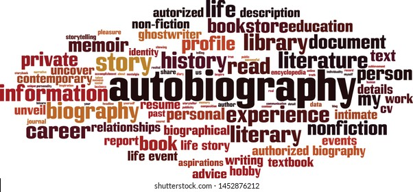Autobiography word cloud concept. Collage made of words about autobiography. Vector illustration
