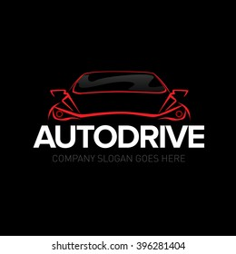 'Autodrive' car logotype - car service and repair, vector set. Car logo. Isolated auto theme logo.